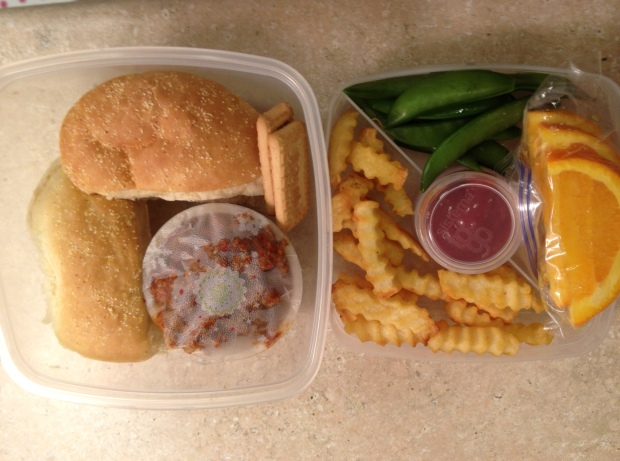 Cece's lunch for Tuesday... (I got her a new container we're going to try out tomorrow it's stackable) Sloppy joe meat in the bowl, dairy free roll, french fries with organic ketchup in reusable container, snap peas, orange slices and two coconut cookies for dessert.